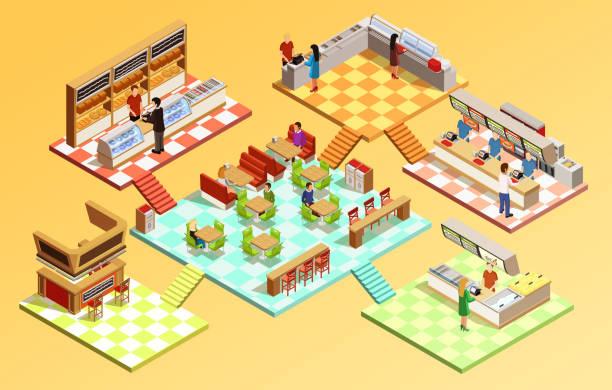 ilustrações de stock, clip art, desenhos animados e ícones de food court composition isometric 1 - kitchen counter