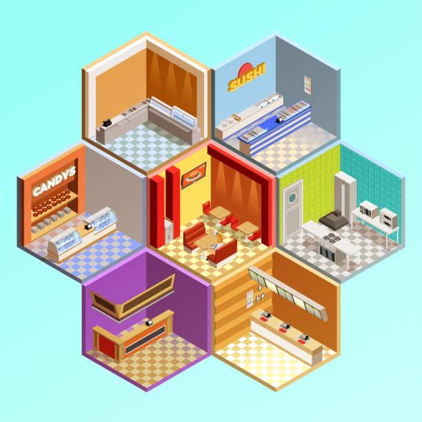 ilustrações de stock, clip art, desenhos animados e ícones de food court composition isometric 2 - kitchen counter