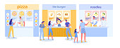 Food Court Restaurants and Cafes in Shopping Mall Interior with Cartoon People Dining Characters. Street Fast Food or Indoor Pizza, Burger and Noodle Cafeteria Counters. Flat Vector Illustration.