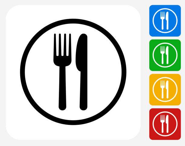 Food Court Sign Icon Flat Graphic Design Food Court Sign Icon. This 100% royalty free vector illustration features the main icon pictured in black inside a white square. The alternative color options in blue, green, yellow and red are on the right of the icon and are arranged in a vertical column. utility knife stock illustrations