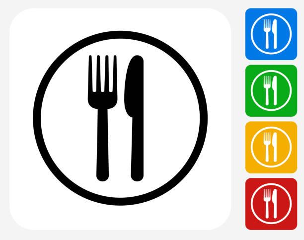 Food Court Sign Icon Flat Graphic Design vector art illustration