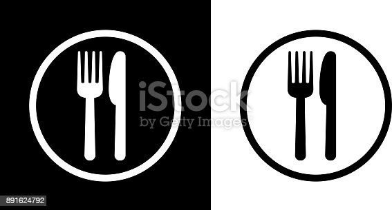 Food Court Sign.This royalty free vector illustration features the main icon on both white and black backgrounds. The image is black and white and had the background rendered with the main icon. The illustration is simple yet very conceptual.
