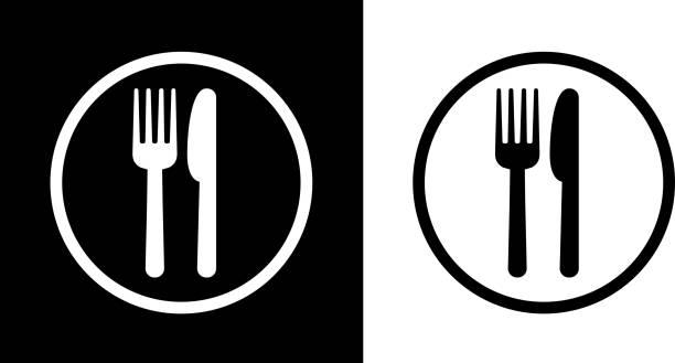 food court zeichen. - tafelbesteck stock-grafiken, -clipart, -cartoons und -symbole
