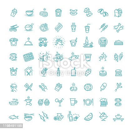 Outline set of food courts vector icons for web design isolated on white background