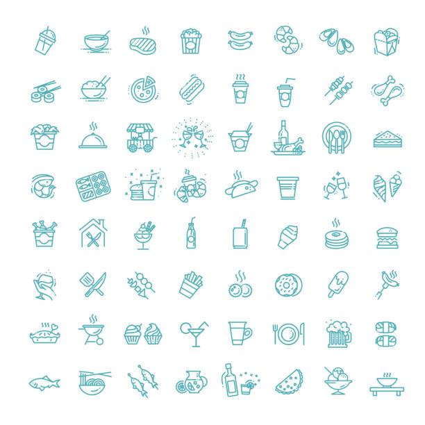 zestaw ikon sądów spożywczych. zarys zestawu żywności - bar lokal gastronomiczny stock illustrations