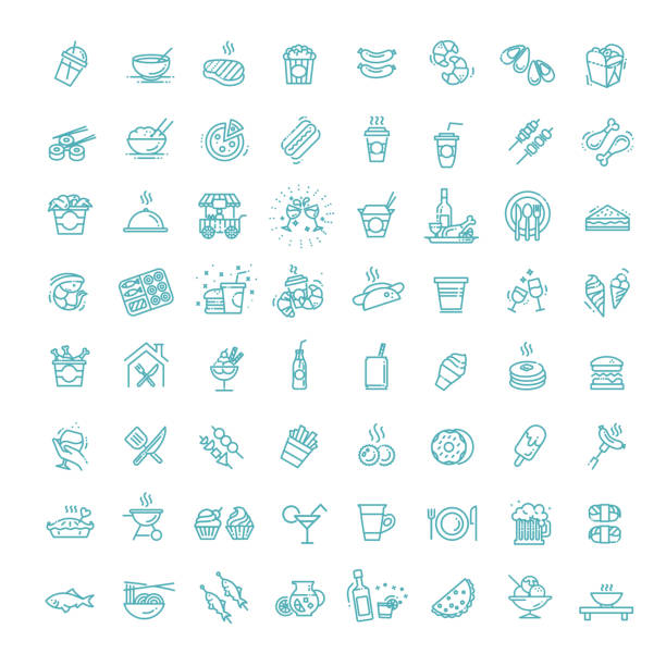 ilustrações de stock, clip art, desenhos animados e ícones de food courts icons set. outline set of food - muita comida