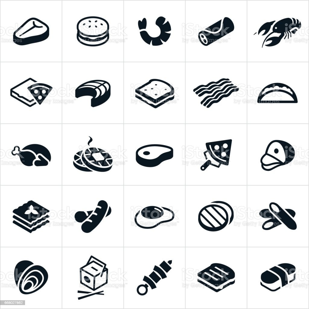 Food Cuisines Icons vector art illustration