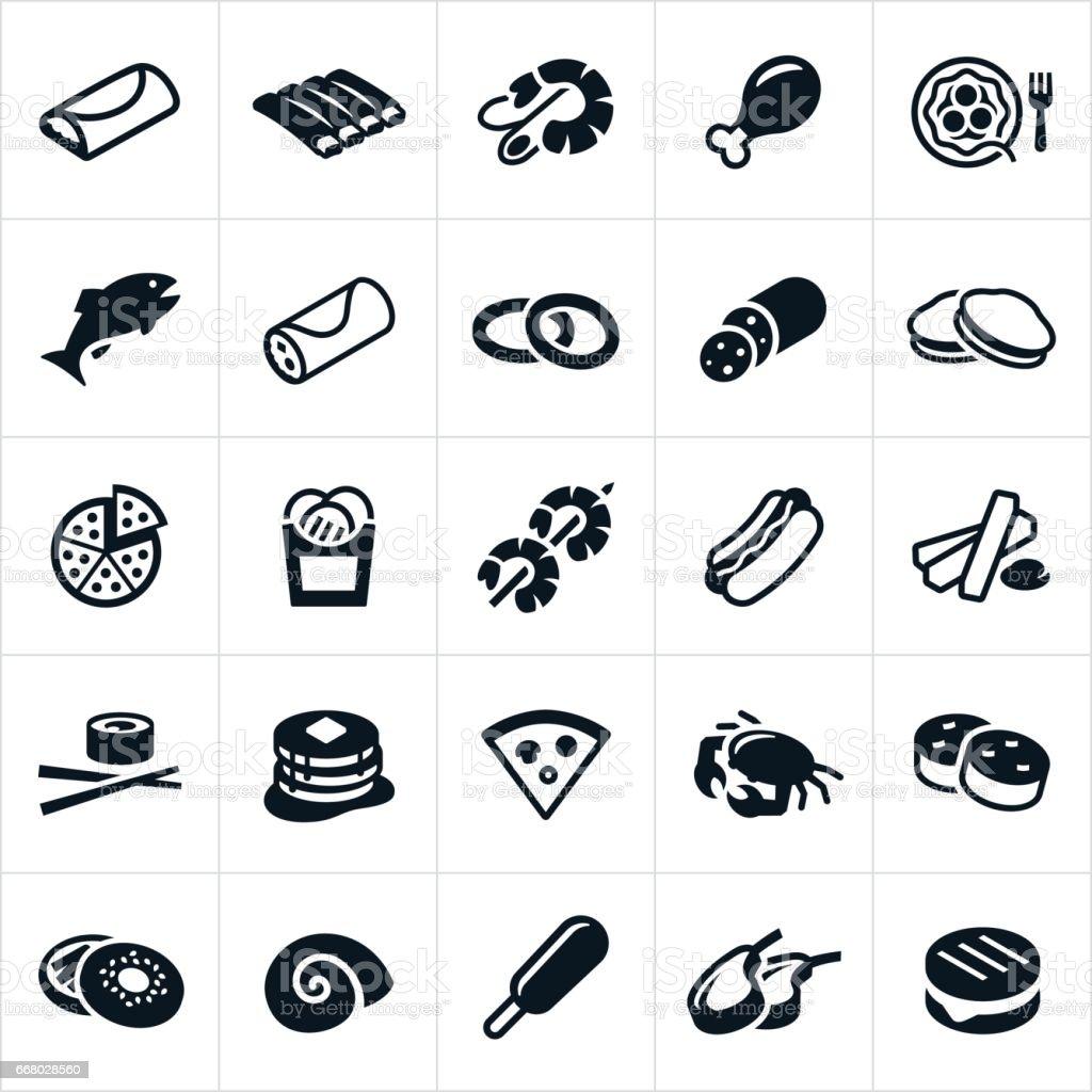 Food Cuisines Icons vector art illustration