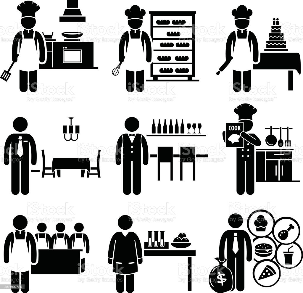 Food Culinary Jobs Occupations Careers vector art illustration