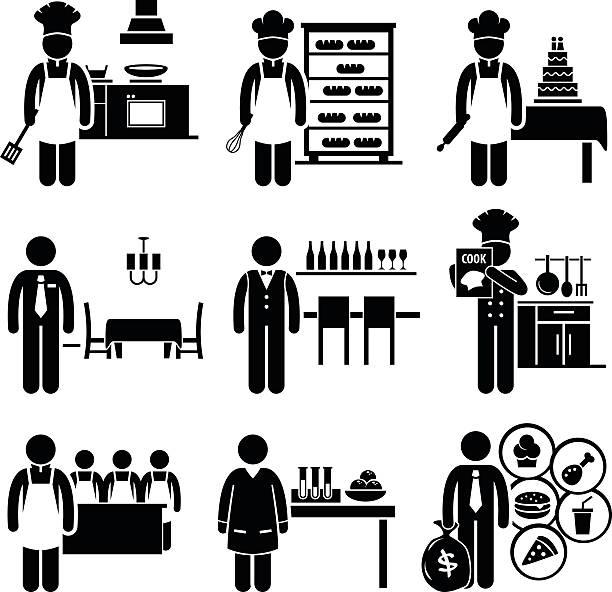 stockillustraties, clipart, cartoons en iconen met food culinary jobs occupations careers - voedsel en drank serveren