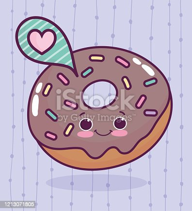 istock food cute chocolate donut love heart cartoon 1213071805