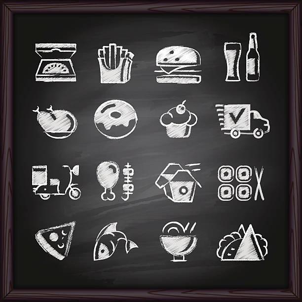 speisen liefern tafel symbole - lachskuchen stock-grafiken, -clipart, -cartoons und -symbole