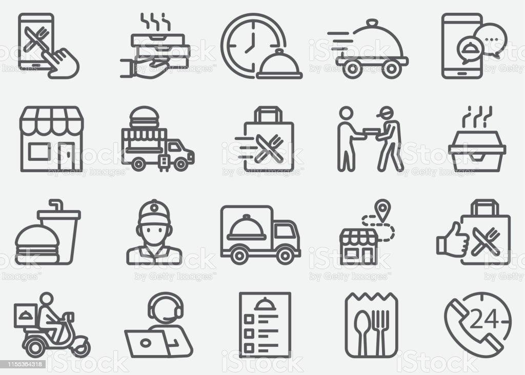 Ikony linii dostawy żywności i na wyjeździe - Grafika wektorowa royalty-free (24 Hrs - Angielski zwrot)