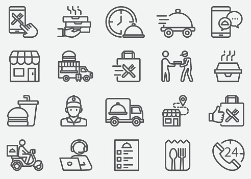 Food Delivery and Take Away Line Icons
