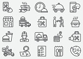 Food Delivery Line IconsFood Delivery and Take Away Line Icons
