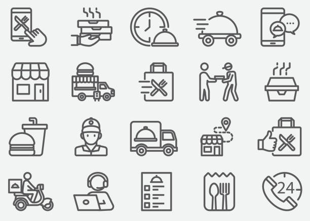 ilustrações de stock, clip art, desenhos animados e ícones de food delivery and take away line icons - food