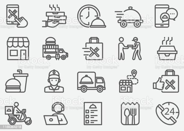 Ikony Linii Dostawy Żywności I Na Wyjeździe - Stockowe grafiki wektorowe i więcej obrazów 24 Hrs - Angielski zwrot