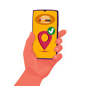 Food Delivery App in Mobile Phone. Restaurant Order Online. Hand Holding Smartphone to Get Take Away Lunch at Home. Fast Courier Service. Burger Menu on Cellphone Screen. Cartoon Vector Illustration