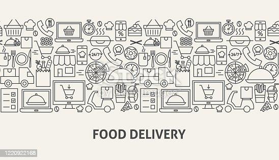 Food Delivery Banner Concept. Vector Illustration of Outline Design.