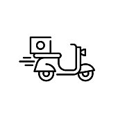 Vector food delivery bike icon template. Graphic moped symbol background. Fast courier motorcycle illustration. Line scooter with orders logo