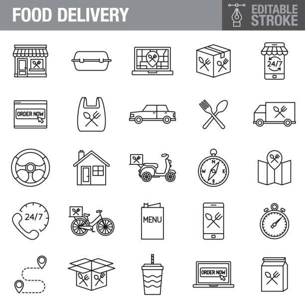 food delivery editable stroke icon set - restaurant stock-grafiken, -clipart, -cartoons und -symbole