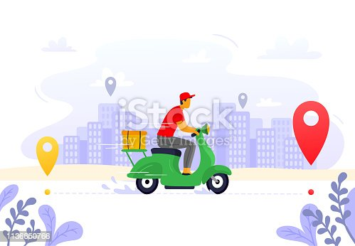 Food delivery. Express courier supply, carrier on freight scooter and parcel box route. Fast food delivery service, motorbike driver courier or gps pizza deliveries vector illustration