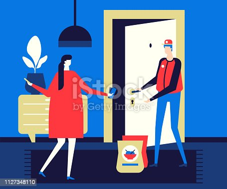 Food delivery - flat design style colorful illustration. High quality unusual composition with male, female characters. A woman paying for the order, a man in a uniform bringing bags with wok