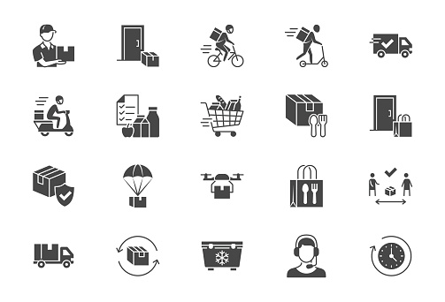 Food delivery flat icons. Vector illustration included icon as coutier on bike, door contactless delivering, grocery list black silhouette pictogram for fast distribution