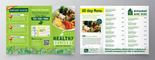 lebensmittel lieferung flyer pamphlet broschüre design vektor vorlage in a4 größe tri falten. gesunde mahlzeit, restaurant menüvorlage - nahrungsmittelindustrie stock-grafiken, -clipart, -cartoons und -symbole