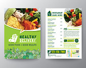 食品配達チラシパンフレットパンフレットデザインベクトルテンプレートA4サイズ。健康的な食事、緑色のレストランメニューテンプレート