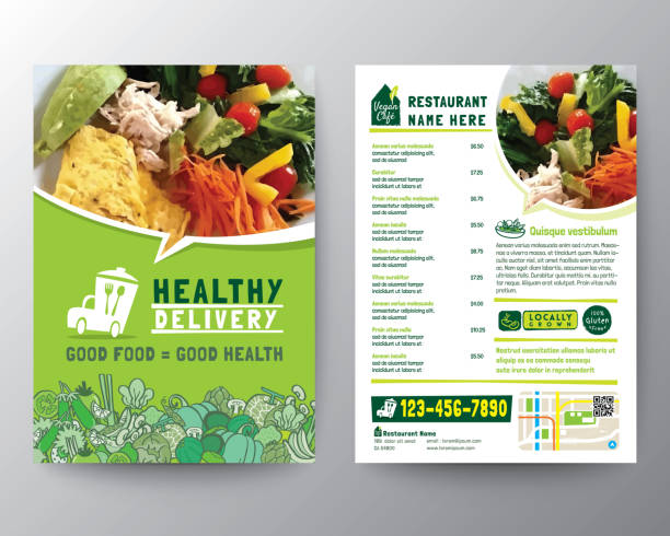 ilustrações de stock, clip art, desenhos animados e ícones de food delivery flyer pamphlet brochure design vector template in a4 size. healthy meal, green color restaurant menu template - ementa