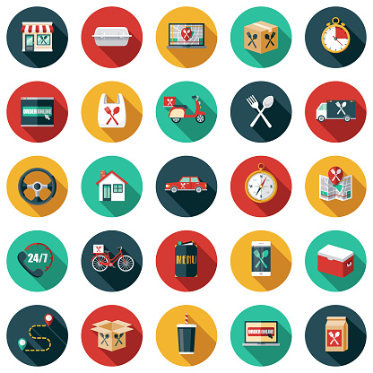A set of food delivery themed icons. File is built in the CMYK color space for optimal printing. Color swatches are global so it's easy to edit and change the colors.
