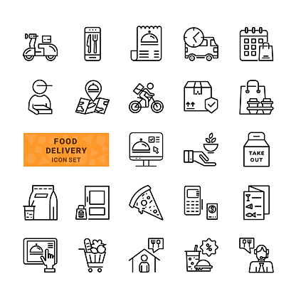 Food delivery icon set.