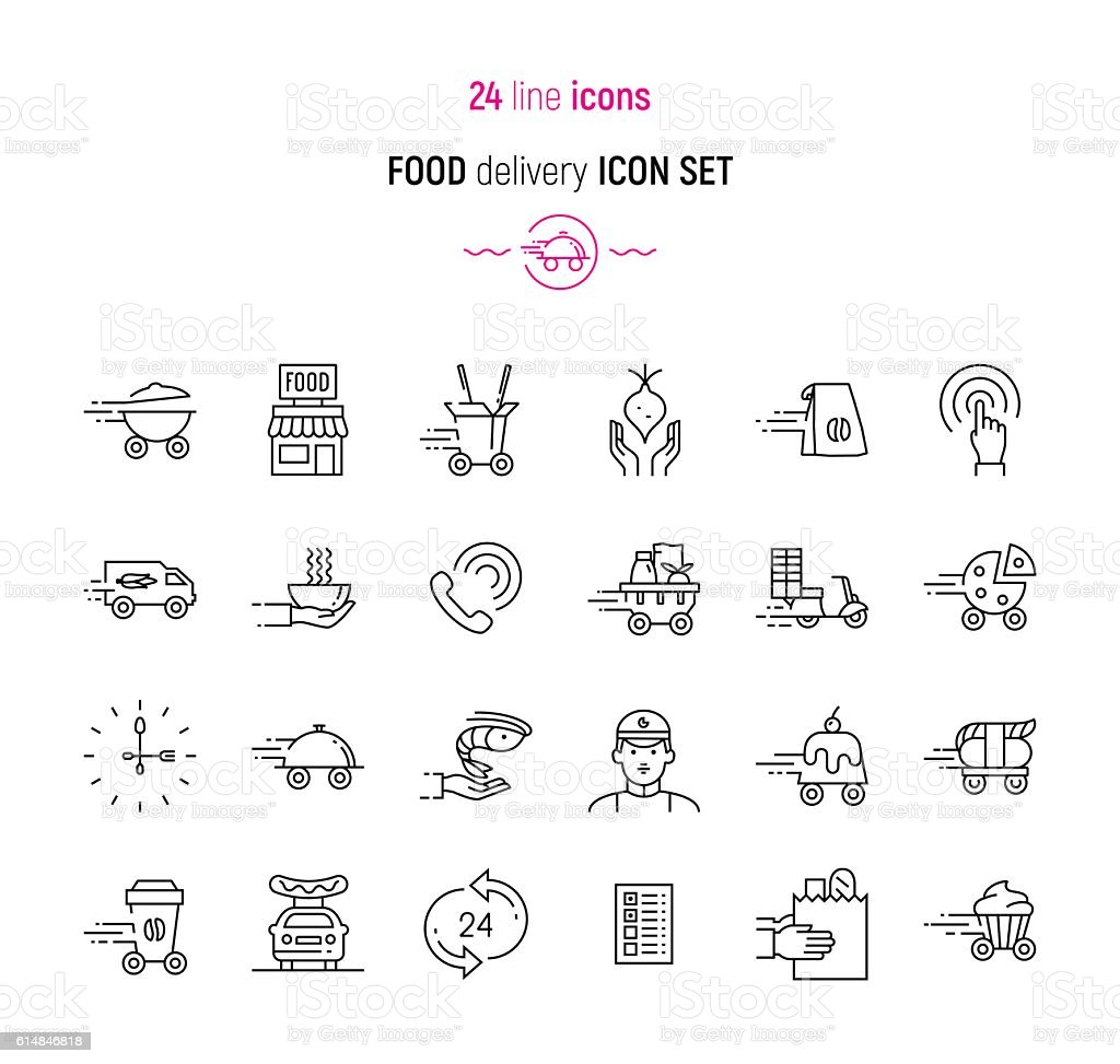 Food Delivery icon set vector art illustration