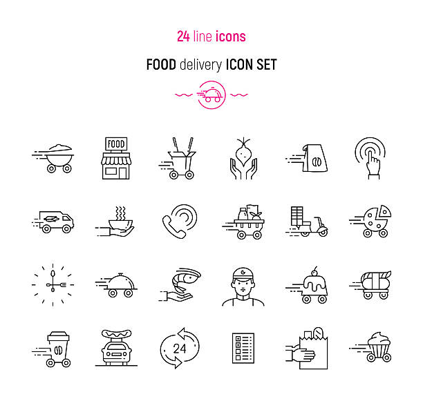 food delivery icon set - food delivery stock illustrations