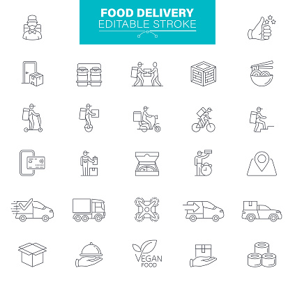 Food Delivery Icons. Editable Stroke. Contains such icons as Take Out Food, Mobile App, Bag, Container, Location Tracking
