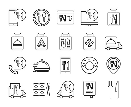 Food Delivery icons. Food Delivery Service line icon set. Vector illustration. Editable stroke.