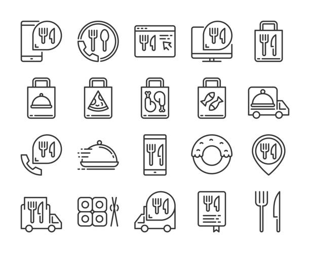 food delivery symbole. food delivery service-zeilensymbol gesetzt. vektor-illustration. bearbeitbarer strich. - bestellen stock-grafiken, -clipart, -cartoons und -symbole