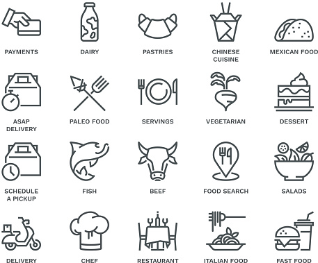 Food Delivery Icons,  Monoline concept