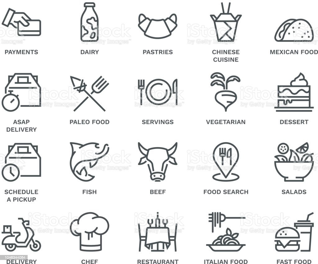 Food Delivery Icons,  Monoline concept vector art illustration