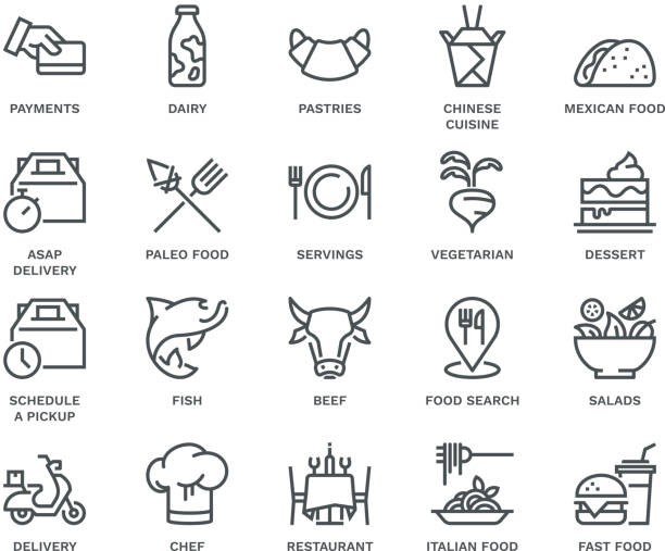 food delivery icons,  monoline concept - paleo diet stock illustrations, clip art, cartoons, & icons