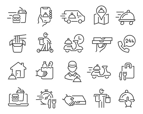 Food Delivery icons set. Editable vector stroke