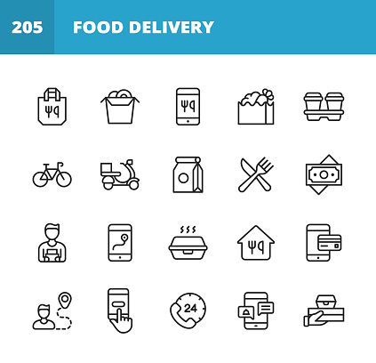 Food Delivery Line Icons. Editable Stroke. Pixel Perfect. For Mobile and Web. Contains such icons as Take Out Food, Mobile App, Bag, Container, Location Tracking, Food Truck, Motor Scooter, Contactless Payments, Coffee, Eating, Restaurant, Sushi.
