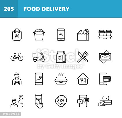 20 Food Delivery Outline Icons. Food, Bag, Sushi, Chinese Food, Mobile App, Box, Coffee Cup, Drink, Bicycle, Motor Scooter, Money, Dollar Bill, Gig Worker, Food Delivery Guy, Navigation, Route, Food Container, Credit Card, Button, Call Center, Customer Support, Restaurant, Take Out Food, Food Distribution, Fast Food.