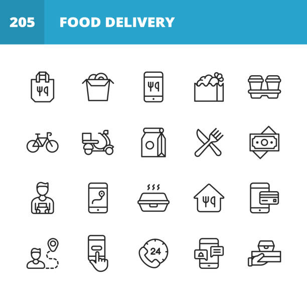 ilustrações de stock, clip art, desenhos animados e ícones de food delivery line icons. editable stroke. pixel perfect. for mobile and web. contains such icons as take out food, mobile app, bag, container, location tracking, food truck, motor scooter, contactless payments, coffee, eating, restaurant, sushi. - food