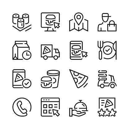 Food delivery line icons set. Modern graphic design concepts, simple linear outline elements collection. Thin line design. Vector line icons