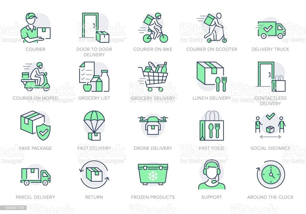 Ikony linii dostarczania żywności. Ilustracja wektorowa zawierała ikonę jako coutier na rowerze, dostarczanie bezdotykowych drzwi, piktogram z listy zakupów do szybkiej dystrybucji. Zielony kolor, edytowalny obrys - Grafika wektorowa royalty-free (Bez ludzi)