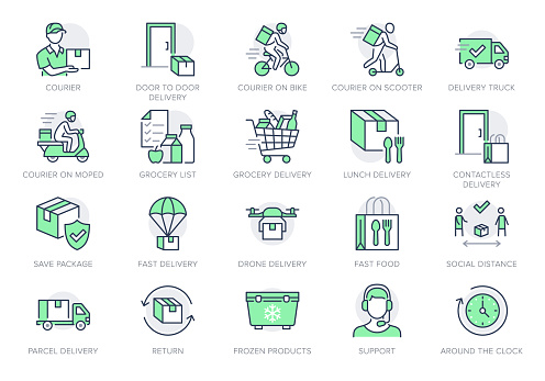 Food delivery line icons. Vector illustration included icon as coutier on bike, door contactless delivering, grocery list outline pictogram for fast distribution. Green Color, Editable Stroke