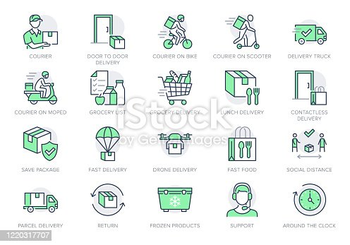 Food delivery line icons. Vector illustration included icon as coutier on bike, door contactless delivering, grocery list outline pictogram for fast distribution. Green Color, Editable Stroke.
