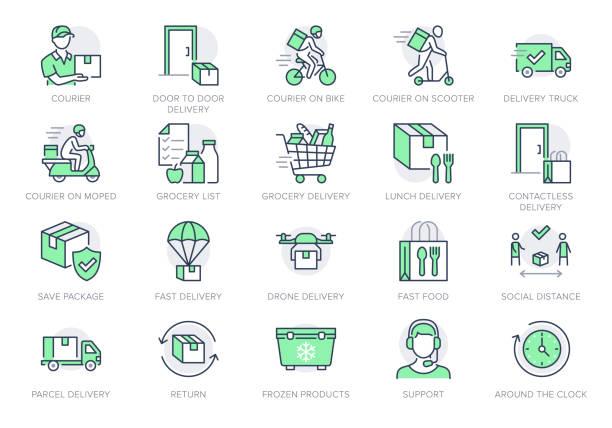 ikony linii dostarczania żywności. ilustracja wektorowa zawierała ikonę jako coutier na rowerze, dostarczanie bezdotykowych drzwi, piktogram z listy zakupów do szybkiej dystrybucji. zielony kolor, edytowalny obrys - food delivery stock illustrations